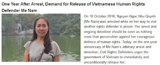 P1 - One Year After Arrest, Demand for Release of Vietnamese Human Rights Defender Me Nam