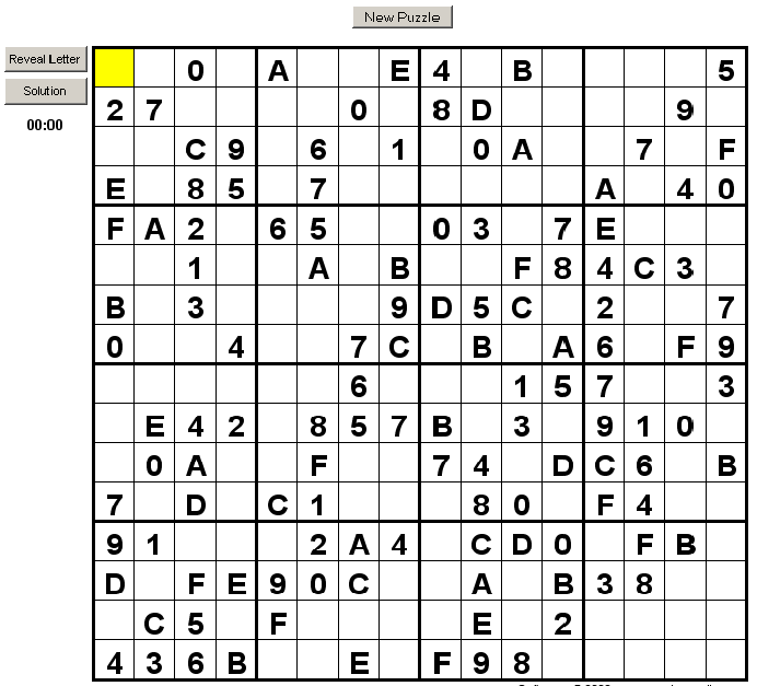 letters and numbers sudoku 16x16