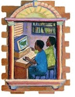 two children sitting at a computer