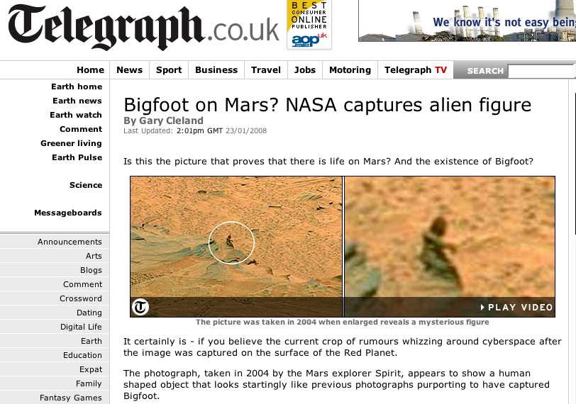 Bigfoot on Mars - or just a rock?