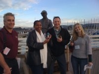Friends learn how to geocache in Monterey.