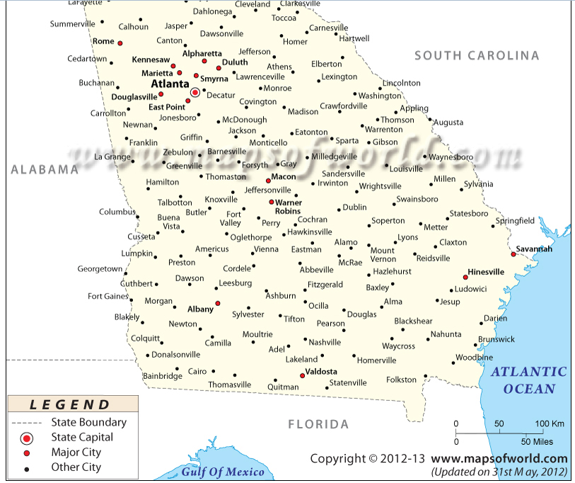 georgia map with major cities Political Map   Georgia Travel Agency