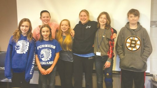 WICKS PHOTO Mediators (l-r) Emily Young, Alyson Murphy, Amber Taylor, Allison Wheeler, Catherine Bezio, Katie Graves, and Josh Galvin are among those who help their peers resolve conflicts in a pioneering program at Great Falls Middle School.