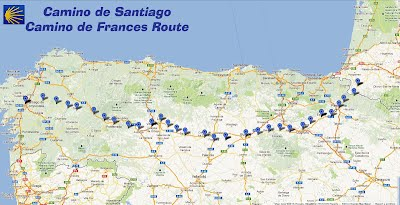 The Camino Frances.  One of the oldest pilgrimage routes in Christian history (predated they say by trading routes and mythology).  Either way, this map gives you a rough estimate of distances traveled from St Jean Pied de Port to Santiago de Compostella.  Generally, it takes about 30 days.  Georgia and I will take about 40.  But this'll give you an idea of where we're up to.
