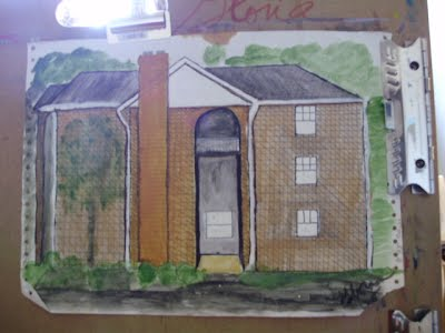 Architecturl sketch by Gloria Poole;Snellville GA; in 1990's; gloriapoole
