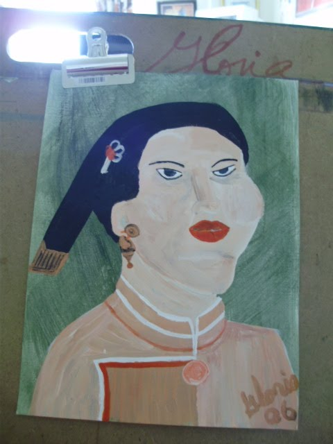 "Sketch for ""mandarin Orange Lady' oil painting; by Gloria Poole;gloriapoole;Copyright"
