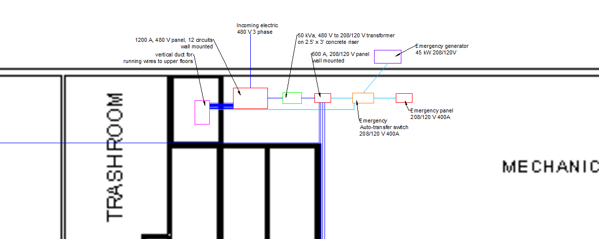 below is the electrical single line diagram for the upper floors  this is  typical for floors 2-11