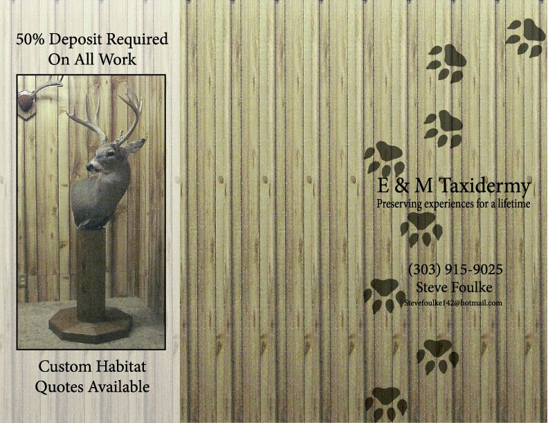 E&M Taxidermy (Brochure & Business Card) - Grant Stouts Client Work
