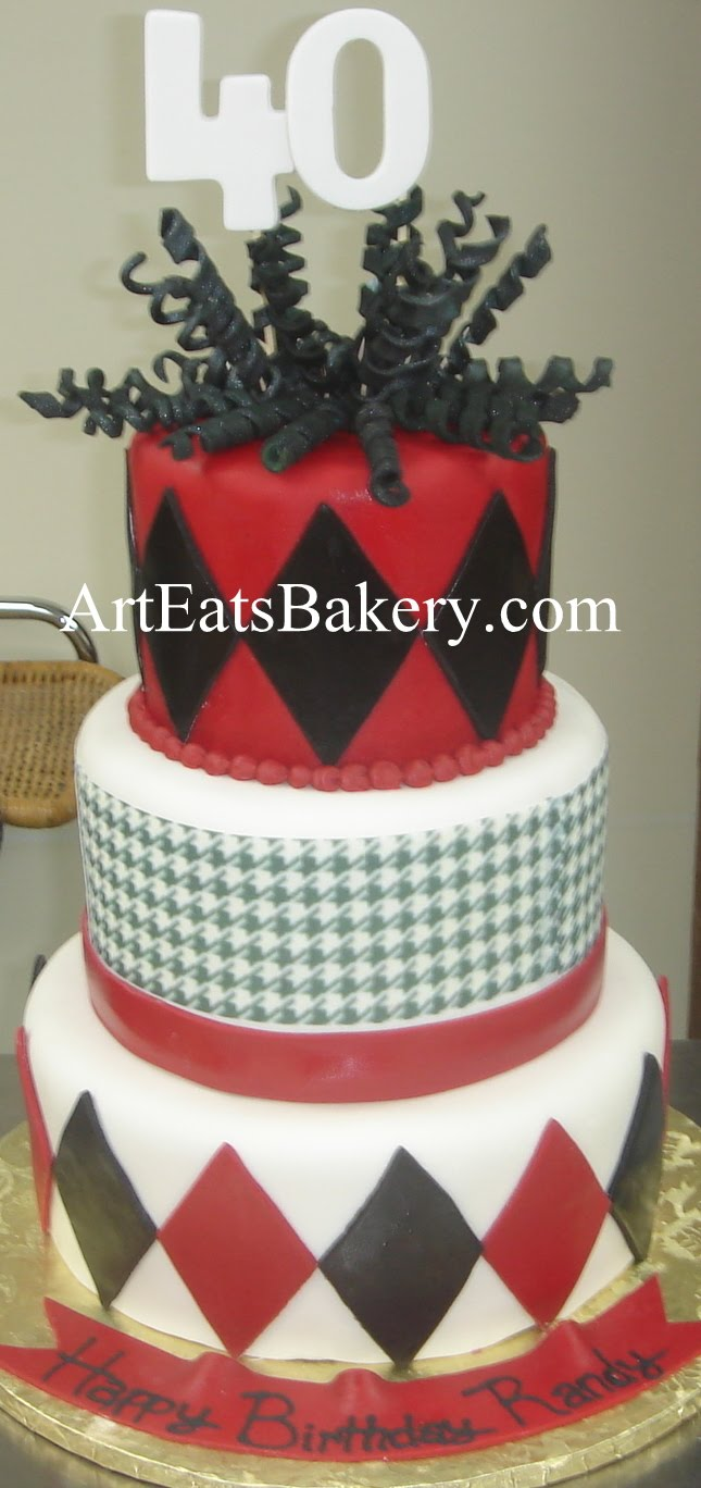 three tier red black and white fondant houndstooth and diamond unique mens 40th birthday cake - Birthday Cake Designs Ideas