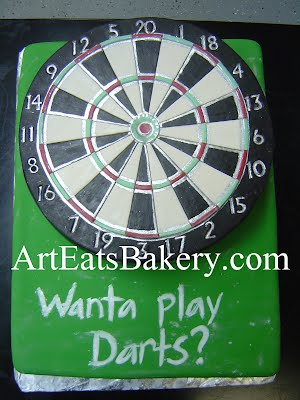 Unique dartboard custom fondant groom's cake design