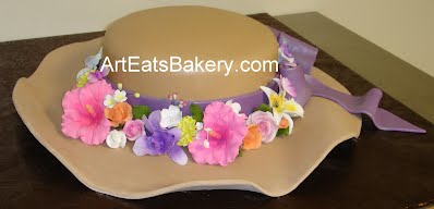 Custom unique ladies hat fondant 90th birthday cake design with purple ribbon, bow and sugar flowers