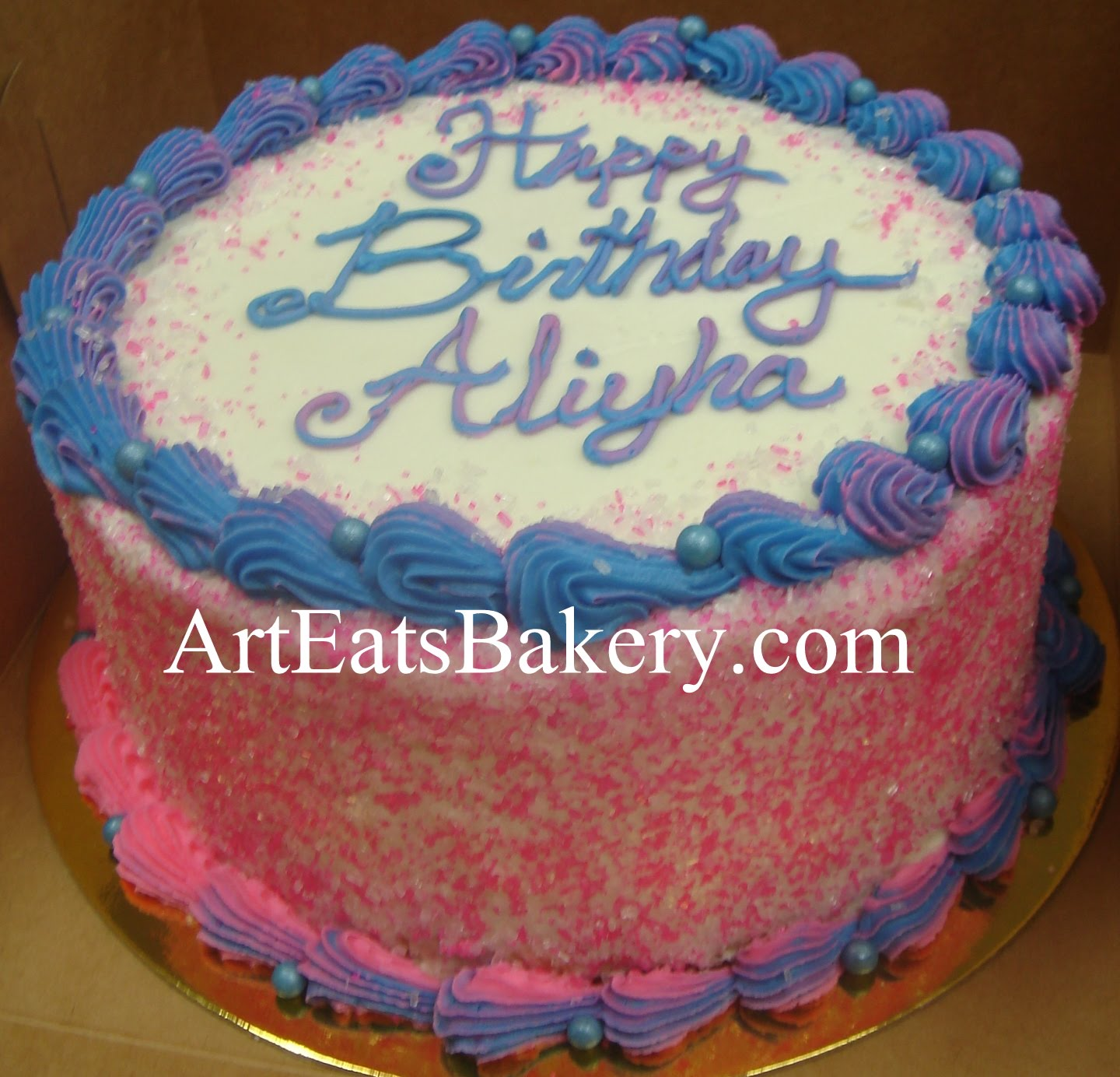 Pink And Blue Butter Cream Birthday Cake