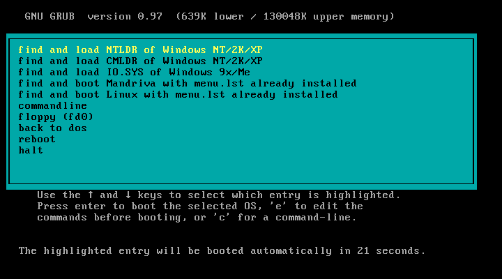 Screen shot showing grub4dos features