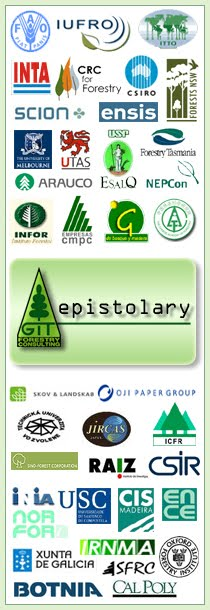 GIT Forestry Consulting Epistolary Eucalyptologics / FAO - Forestry Department (Italy - International) / IUFRO - International Union of Forestry Research  Organizations (Austria - International) / ITTO - International Tropical Timber Organization (Japan - International) / INTA - Instituto Nacional de Tecnología Agropecuaria (Argentina) / CRC for Forestry - Cooperative Research Centre for Forestry (Australia) / CSIRO - ENSIS - NZFRI (Australia/New Zealand) / DSE - Department of Sustainability and Environment of Victoria (Australia) / Forestry Tasmania (Australia) / RSC-ANU - Research School of Chemistry, Australian National University (Australia) / School of Forest and Ecosystem Science, University of Melbourne (Australia) / School of Plant Science, University of Tasmania (Australia) / NSW Forests - State Forests of New South Wales (Australia) / Grau Celsius (Brazil) / ESALQ - Escola Superior de Agricultura Luiz de Queiroz, Universidade de Sao Paulo (Brazil) / Arauco S.A. (Chile) / INFOR - Instituto Forestal (Chile) / Forestal Mininco S.A. (Chile) / CMPC - Forestal y Agrícola Monteáguila S.A. (Chile) / GAF - Grupo de Acción Forestal, Universidad de Talca (Chile) / CAF - Chinese Academy of Forestry (China) / NEPCon - Nature, Ecology and People Consult (Denmark) / Skov & Landskab, Københavns Universitet (Denmark) / Sino Forest Corporation (Hong Kong) / JIRCAS - Japan International Research Center for Agricultural Sciences (Japan) / Oji Paper Co. Ltd (Japan) / RAIZ - Instituto de Investigaçao da Floresta e Papel  (Portugal) / Faculty of Wood Science and Technology - Technical University Zvolen (Slovakia) / CSIR - Council for Scientific and Industrial Research (South Africa) / ICFR - Institute for Commercial Forestry Research (South Africa) / CIAM - Centro de Investigacións Agrarias de Mabegondo (Spain) / CIFA - Centro de Investigacións Forestais e Ambientais de Lourizán (Spain) / CIS-Madera - Centro de Investigación y Servicios Tecnológicos de la Madera de Galicia (Spain) / Departamento de Ingeniería Agroforestal, USC (Spain) / Departamento de Ingeniería de los Recursos Naturales y Medio Ambiente, Universidad de Vigo (Spain) / Departamento de Producción Vegetal, USC (Spain) / Grupo ENCE (Spain) / NORFOR - Norte Forestal S.A. (Spain) / Department of Marine Ecology, Göteborg University (Sweden) / OFI - Oxford Forestry Institute (UK) / INIA - Instituto Nacional de Investigación Agropecuaria (Uruguay) / FOSA - Forestal Oriental S.A. - Botnia Group (Uruguay) / Biological Sciences Department, CalPoly (USA) / School of Forest Resource Conservation, University of Florida (USA) // GIT Forestry Consulting, Consultoría y Servicios de Ingeniería Agroforestal, Galicia, España, Spain / Eucalyptologics, information resources on Eucalyptus cultivation around the world / Eucalyptologics, recursos de informacion sobre el cultivo del eucalipto en el mundo