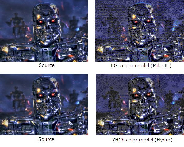 "Images of ""Terminator 3"": original, rendered with RGB, and rendered with YHCh"