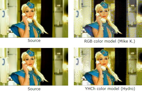"Compare an image from Britney Spear's ""Toxic"" with RGB(w) and YHCh color conversions"