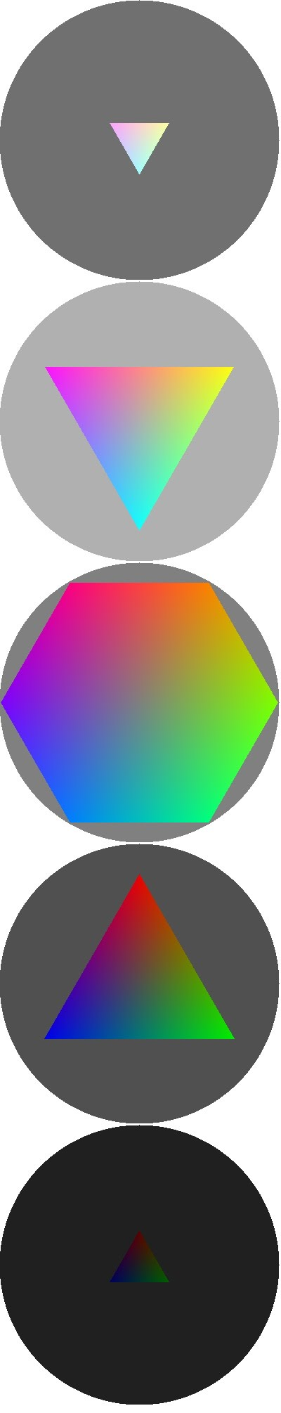 RGB(W) color wheels at W= 32,80, 128, 176, 224