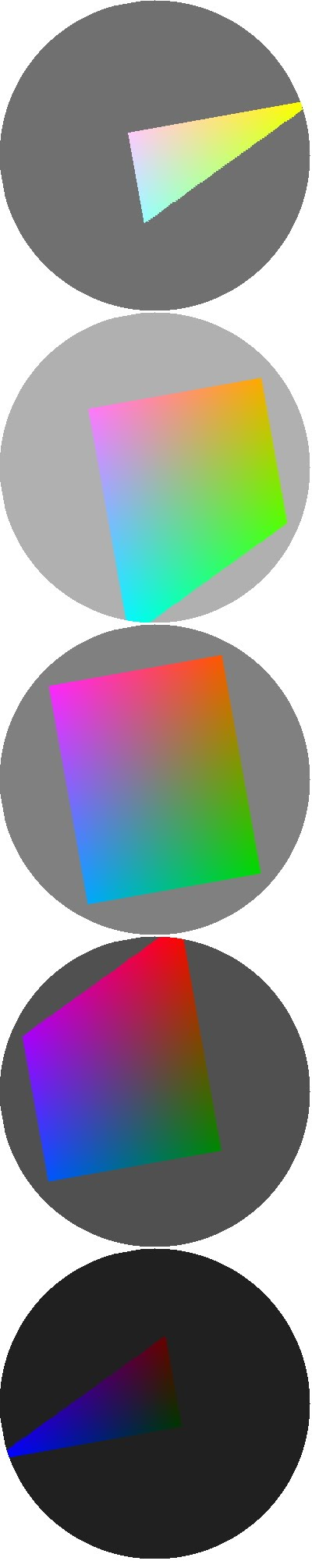 YHCh color wheels at Y= 32, 80, 128, 176, 224