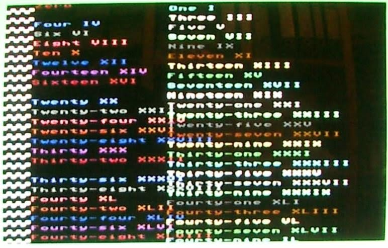 Picture of PAL VIC-IIe screen displaying 40x50 interlaced text.