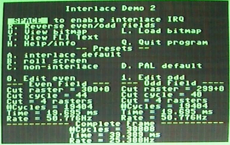 Picture of PAL VIC-IIe screen displaying Interlaced Demo menu.