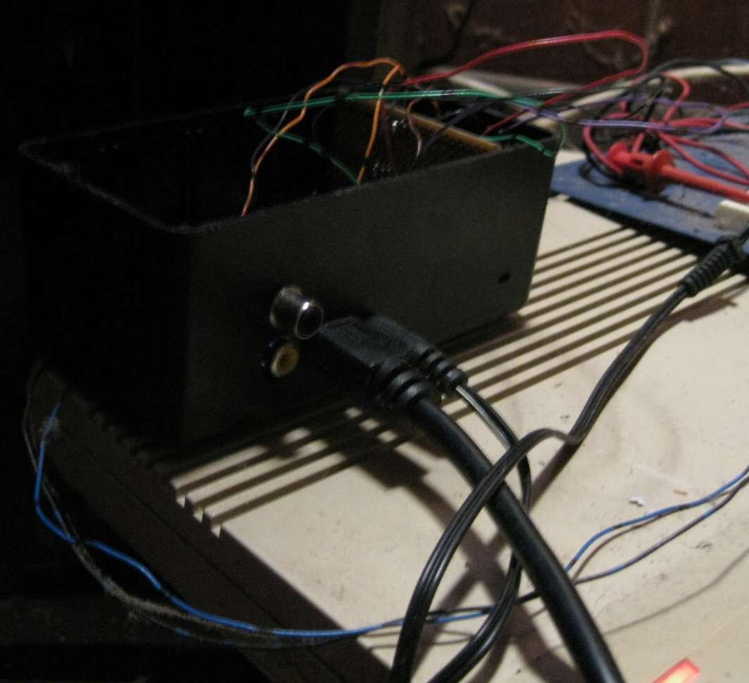 A photo of RGBI to S-Video Converter, side view (no Power circuit).