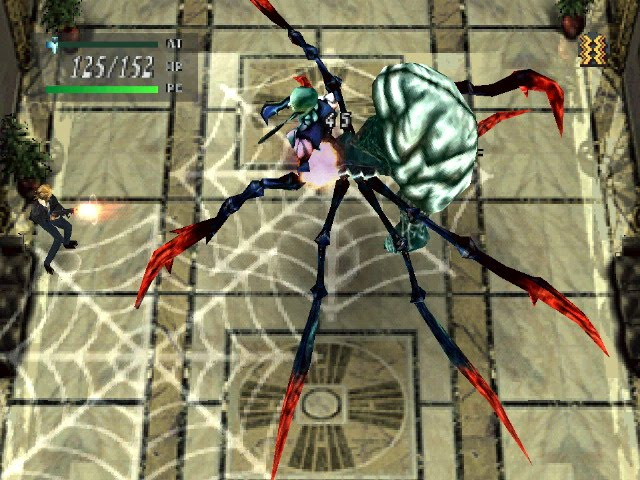 Aya standing in a web and shooting a giant spider