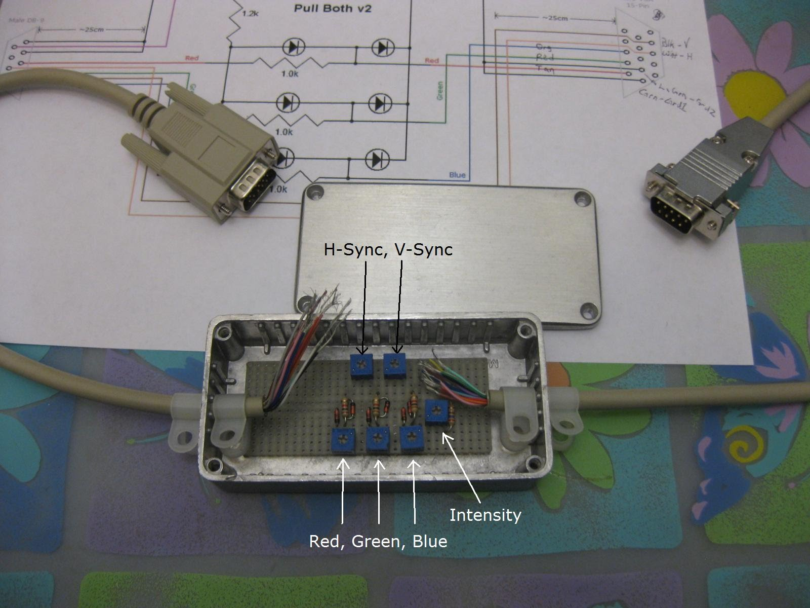 Photo of RGBI to VGA converter in metal case with variable resistors.