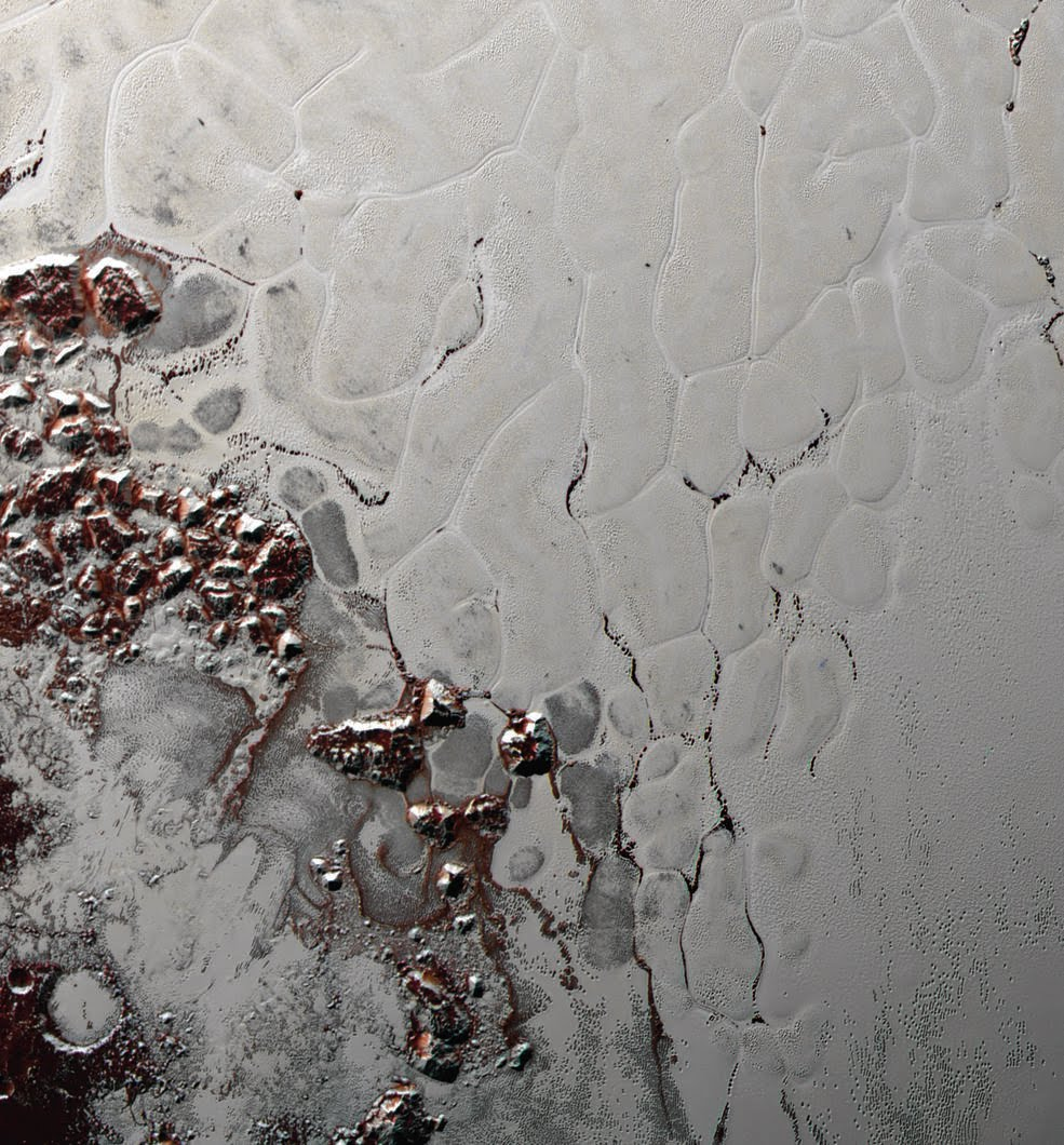 Image of Pluto's ice sheets showing convection (similar to Earth's plate tectonics)