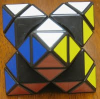 """Photo of a partially disassembled """"false"""" (C.T.) Octahedron which shows the """"axial"""" and """"corner"""" blocks (but no """"edge"""" blocks)"""