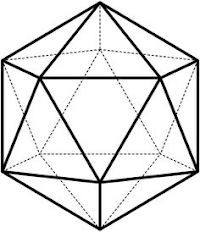 Icosahedron: a 20-sided solid with triangular faces intersecting in sets of 5 at each vertex