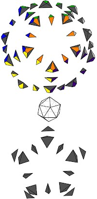 """Diagram of the 50 surface blocks (and the """"core"""") which compose a Pyraminx Crystal"""