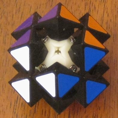 Photograph of the core and edge blocks in a face-turning (n=3) octahedron puzzle