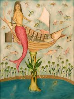 "Rigaud Benoit, ""La Sirene en Voyage,"" 1980. Oil on masonite, 24 x 18.5 inches. Image courtesy of the Waterloo Center for the Arts, gift of Dr. and Mrs. Harold Reuling."