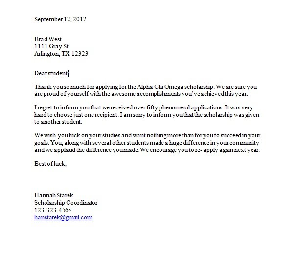 Scholarship Rejection Letter Sample Rejection Of Proposal Sample
