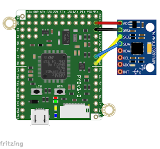 pyboard v1.0 and an MPU6050 3-axis accelerometer/gyroscope board