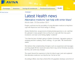 """Latest Health news Alternative medicine 'can help with winter blues'Article date: 23 December 2011  People could look into the possibility of using alternative medicine to help them cope with depression and mood swings in January.  Andrea Steinlechner, acupuncturist at harleystreetacupuncture.co.uk, said that the upheaval in many people's lives as they try to cope with their new year's resolutions can leave some feeling slightly """"scattered"""".  """"You have the buzz of what's going on [before Christmas] - big parties going on, shopping and then suddenly, there's nothing – it's just dark,"""" Ms Steinlechner stated.  She believes that complementary therapies such as acupuncture and massages can help people lift their mood and realise that it may not be Christmas anymore, but they can survive any changes.  The expert likened the experience to that of a blood sugar crash and explained that alternative medicines can help the low """"not be too low"""".  According to Mind, more than a third of the UK population develops some form of seasonal affective disorder."""