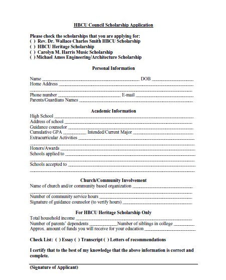 It is a graphic of Printable Scholarship Applications for college student