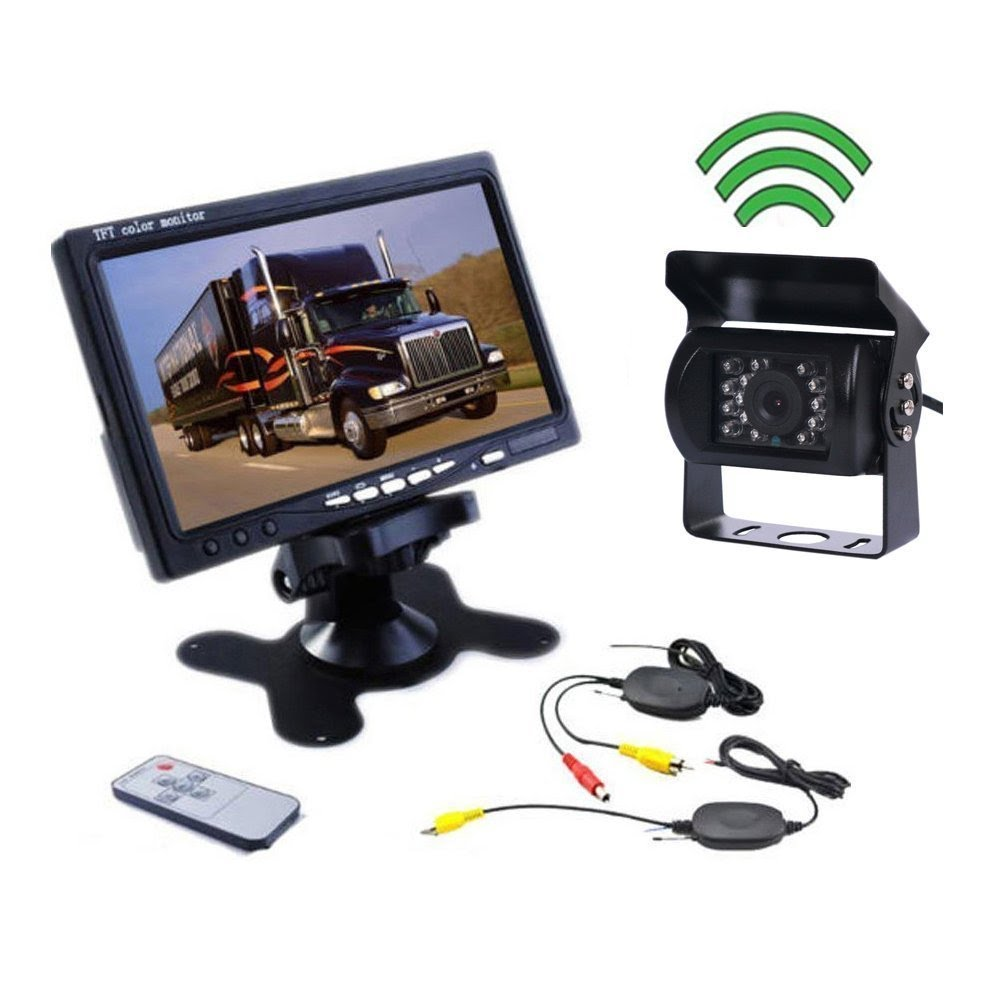 Dual Backup Cameras System 7 inch HD Full Color Adjusting Monitor Kit for Jeep Truck RV Van Trailer Motorhome 2 Rear View IP68 Waterproof IR Night Vision 175/° Wide View Angle Reverse Cameras