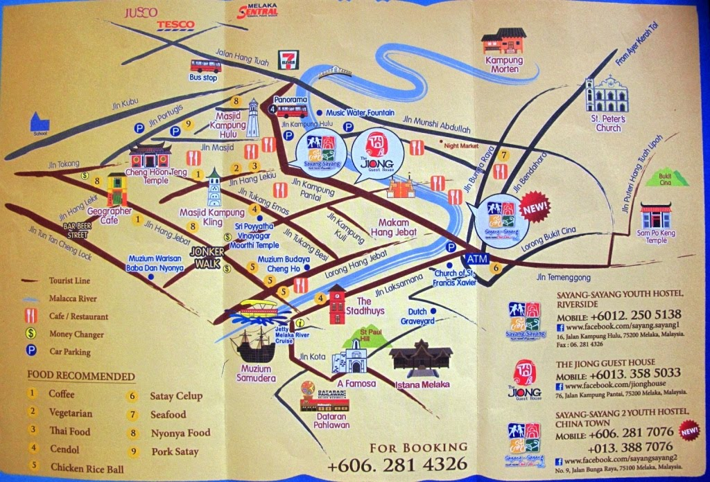 Melaka malaysia living in se asia above map has two youth hostels marked excellent overview of melaka sciox Choice Image