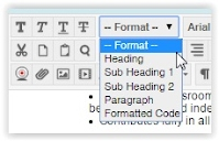 pop up box shows the options for Formats listed in the text