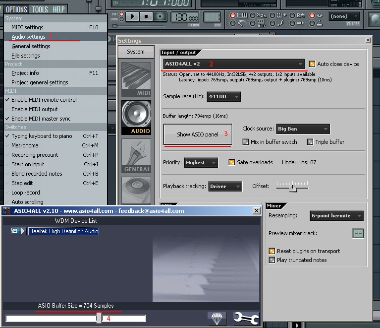Configure ASIO4ALL in FL Studio