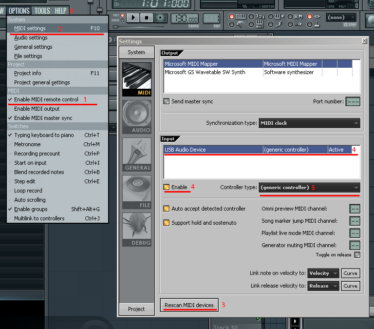 Configuration of FL Studio to work with MIDI keyboard.