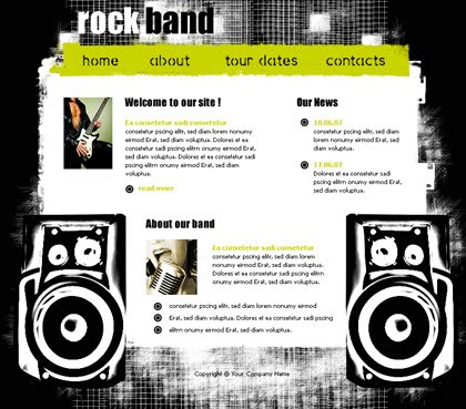 Flash Rock Music Web2.0 Website Template