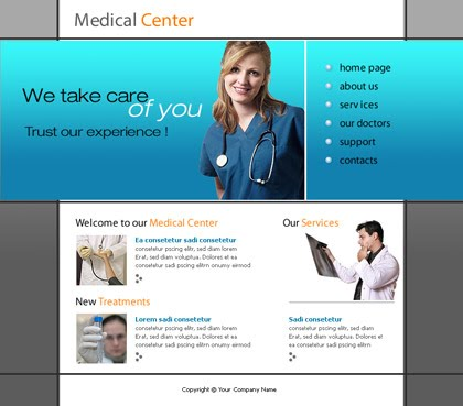 Free Flash Bleu Hospital Medical Template