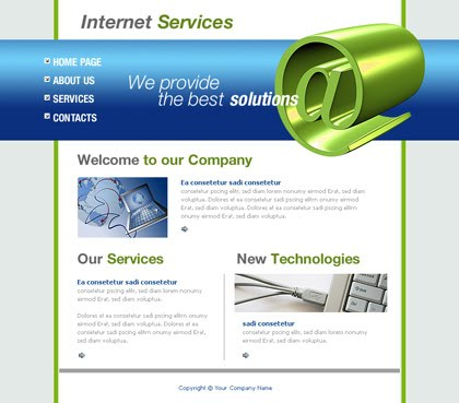 Flash Internet Service Green Website Template