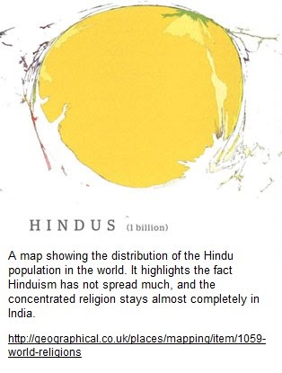 The Map Shows The Hindu Population Throughout The World But It Is Essentially India That Takes Up The Entire Picture This Highlights The Major