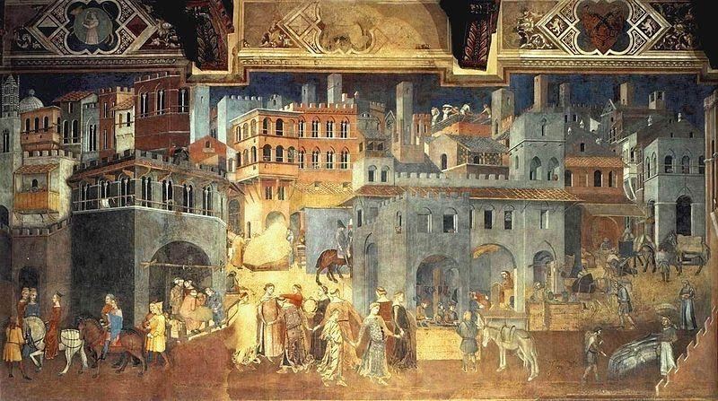 Detail of The Effects of Good Government, a fresco in the City Hall of Siena by Ambrogio Lorenzetti, 1338.