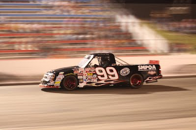 Cary Stapp, No. 99, trails points leader Mason Teague in the NASCAR BWFS 360 Truck class at Houston Motorsports Park, but he could cut into that lead or even take it over after Double Feature Night at the track on Saturday, July 21.