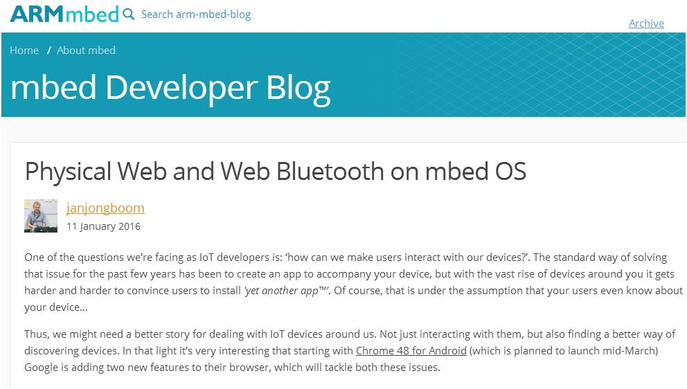 http://blog.mbed.com/post/137093070607/physical-web-and-web-bluetooth-on-mbed-os