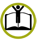 icon of person standing on open book